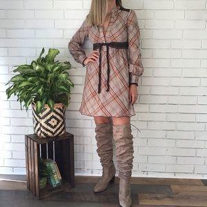 Free People | Long Sleeve Plaid Crochet Boho Dress